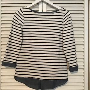 Long sleeve navy and white shirt